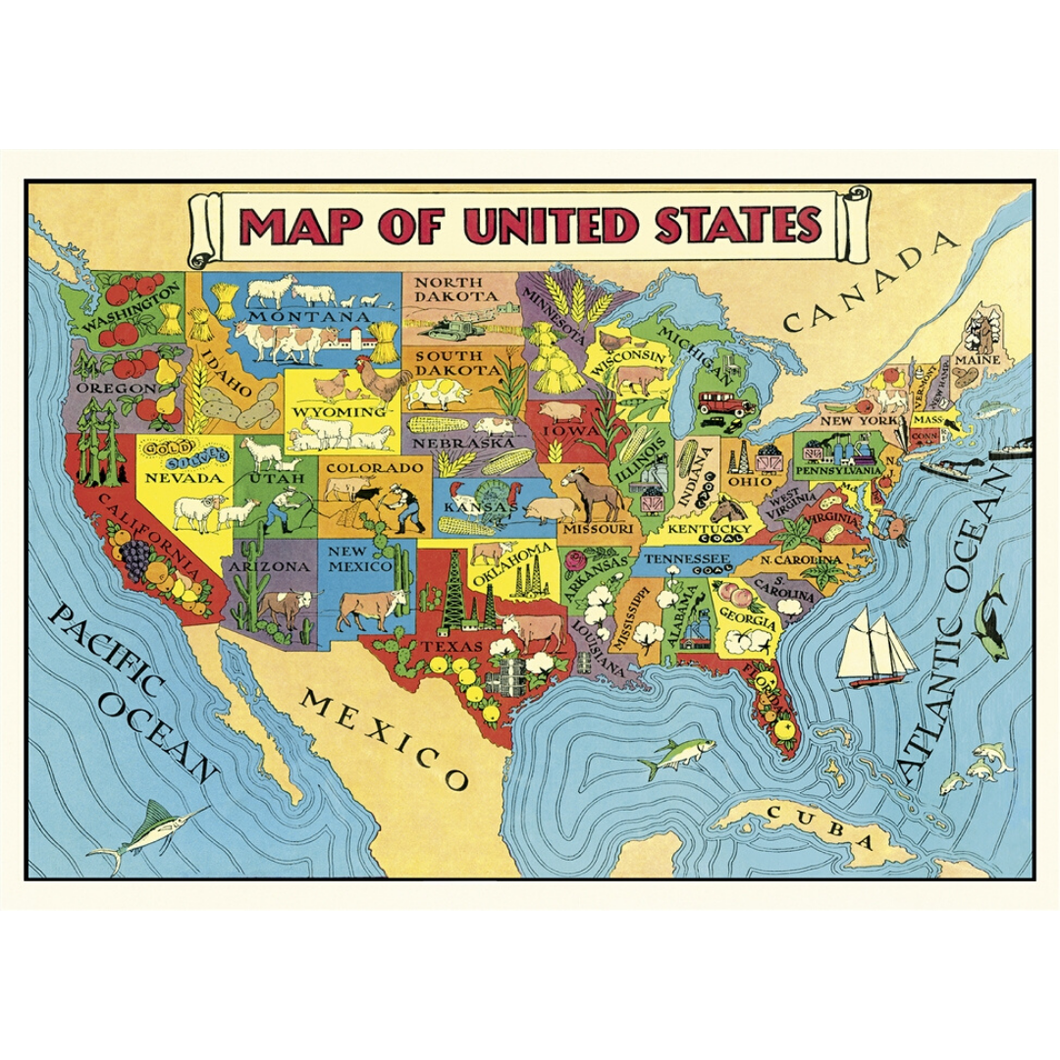 An art print and paper wrap which features a vinage map of the united states
