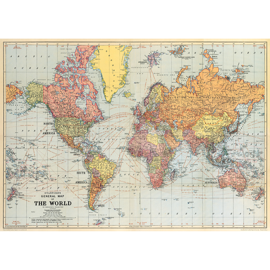 Cavallini & Co. World Map Wrap