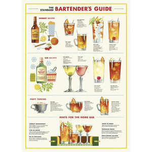 An art print and paper wrap which features various drinks and their recipes, including whisky, gin, and punch.