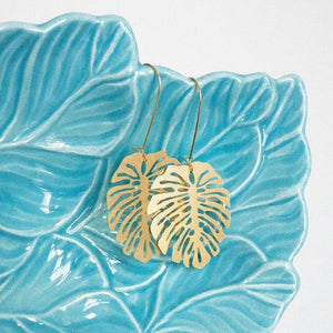Monstera Leaf Pendant Earrings
