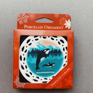 WA Orca Whale & Calf Ornament