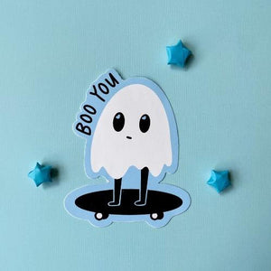 Ghost on a skateboard with a blue background