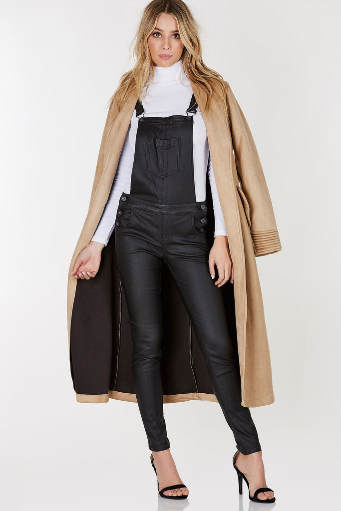 NOT OVER IT FAUX LEATHER OVERALL