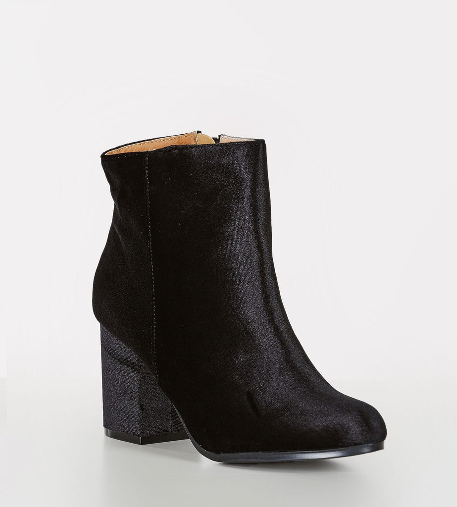 Soft Spot Velour Ankle Boots