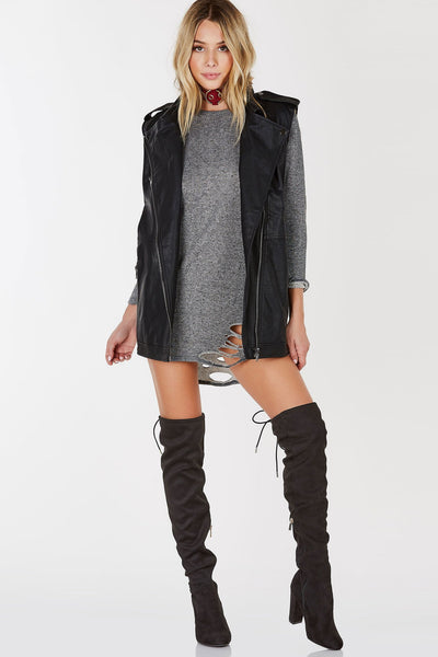 Baddie Distressed Tunic Dress | Necessary Clothing