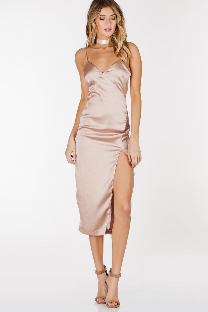Love You Better Satin Midi Dress