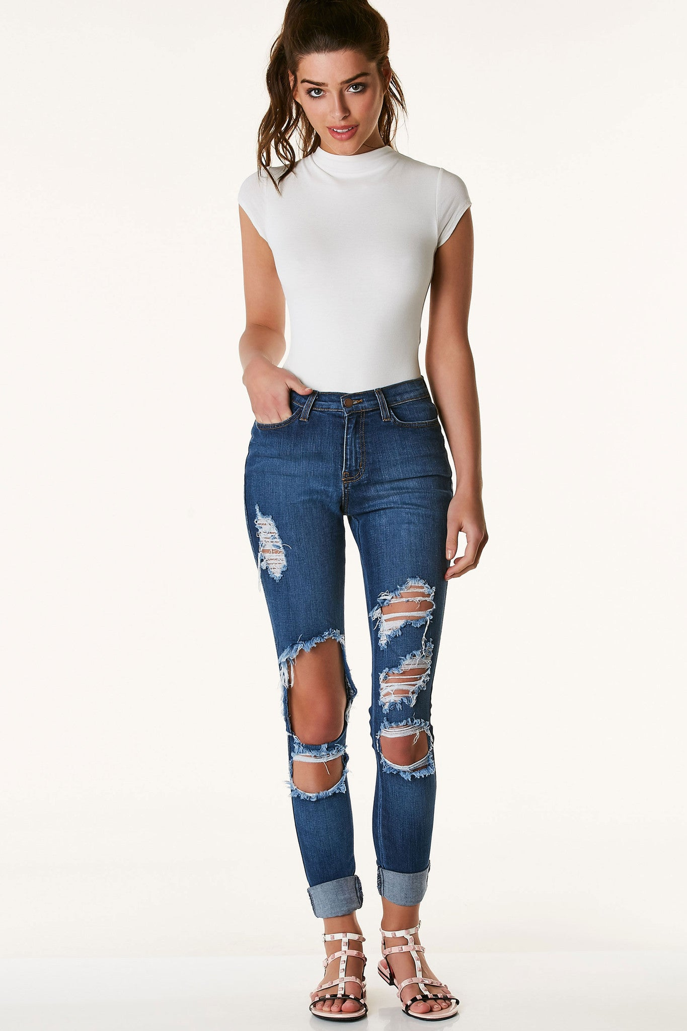 Dare Devil Distressed High Waist Jeans