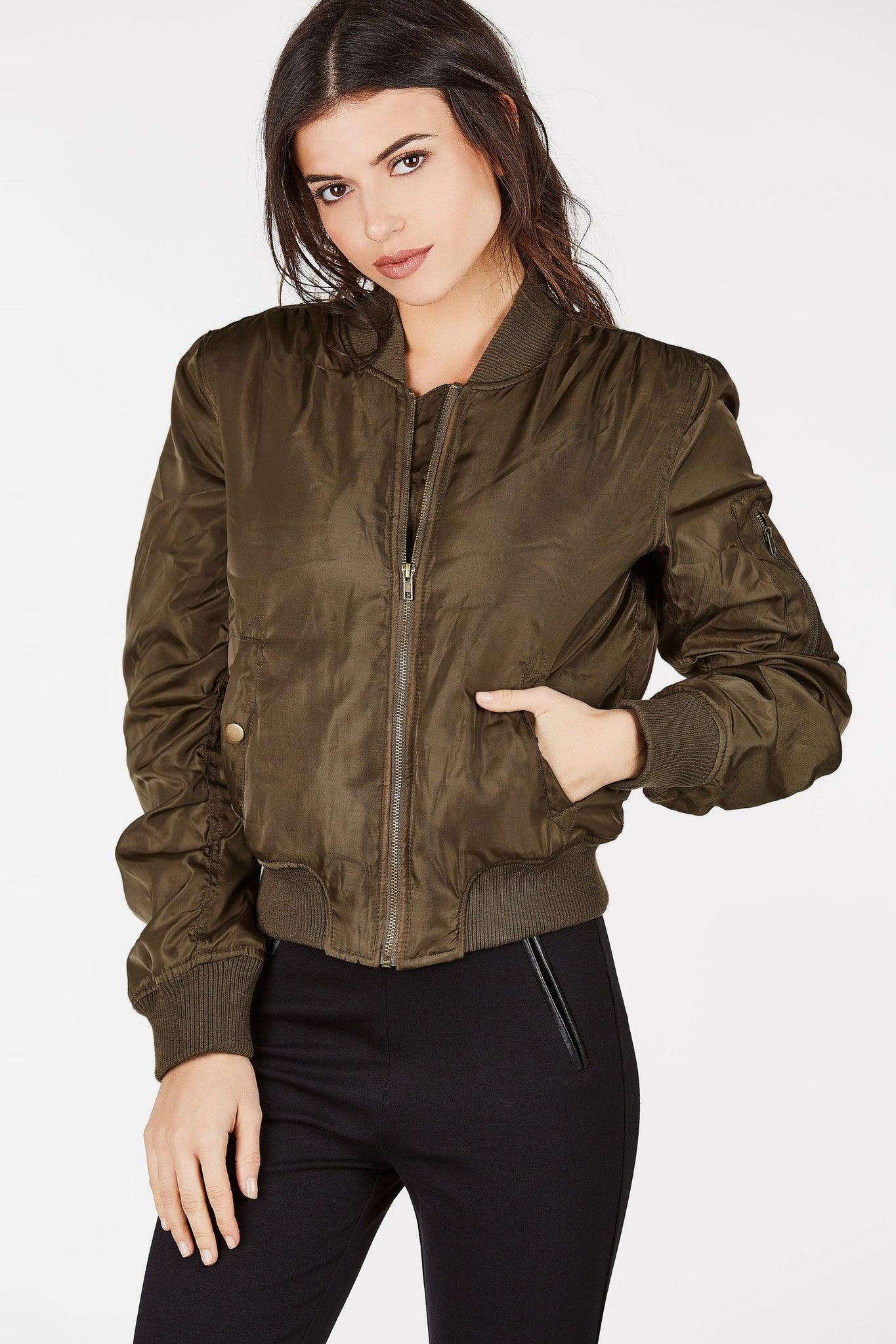 A bomb a** bomber jacket perfect for the upcoming chilly weather! This bomber is lined inside and features three fully functional pockets. Has cuffed ribbed sleeves and hem. Stretchy hemline for fit.