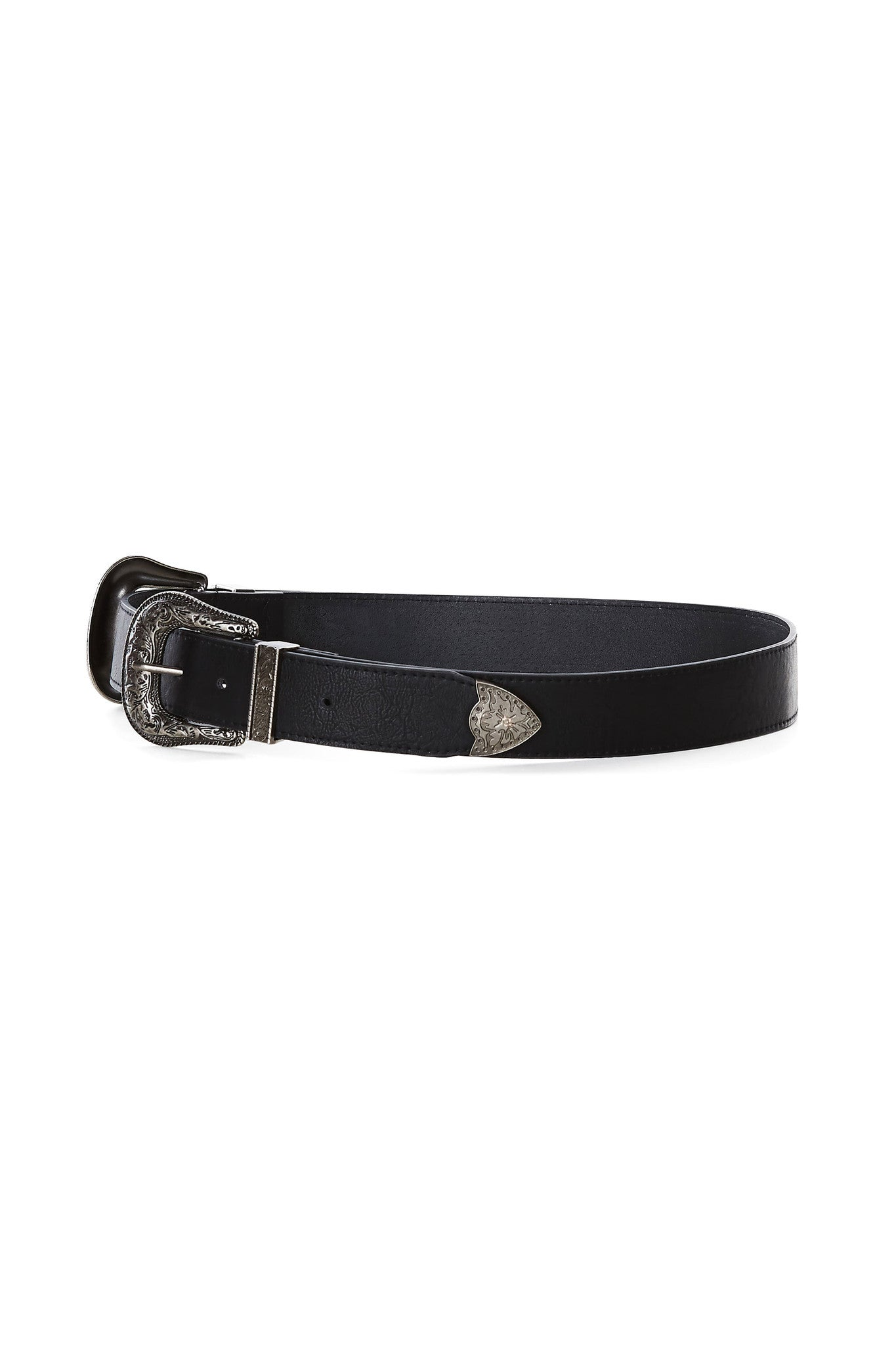 An incredible belt with a western vibe. Vintage style hardware and features two buckles. Such a bold statement piece but so easy to wear!