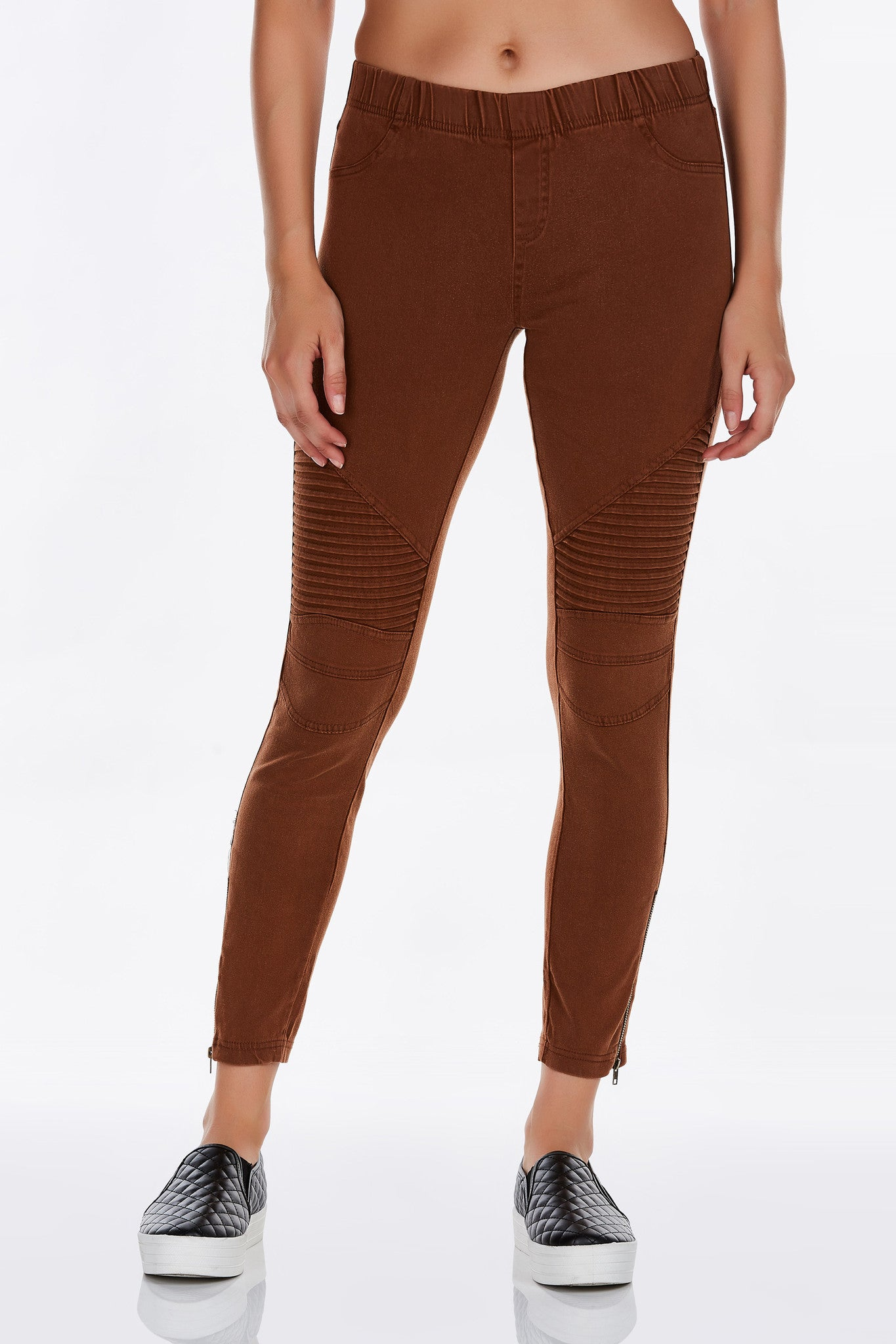 An awesome pair of jeggings that you'll want in every color. These jeggings have a comfortable and stretchy fit. Has elastic band at waist for fit. Pair with graphic tee and sneakers! Or dress it up with pumps and a blouse.