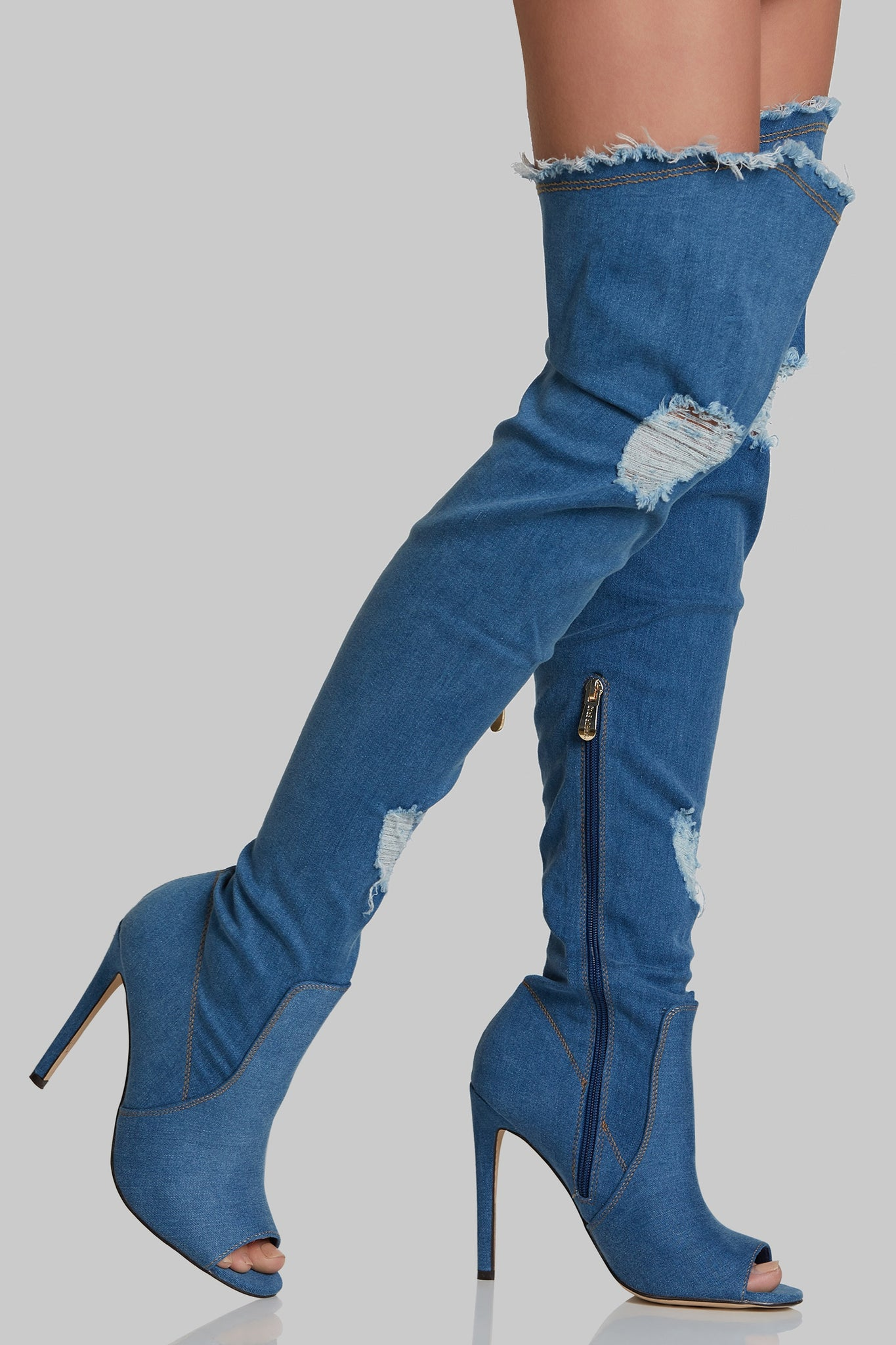 Kimmie Denim Thigh High Boots