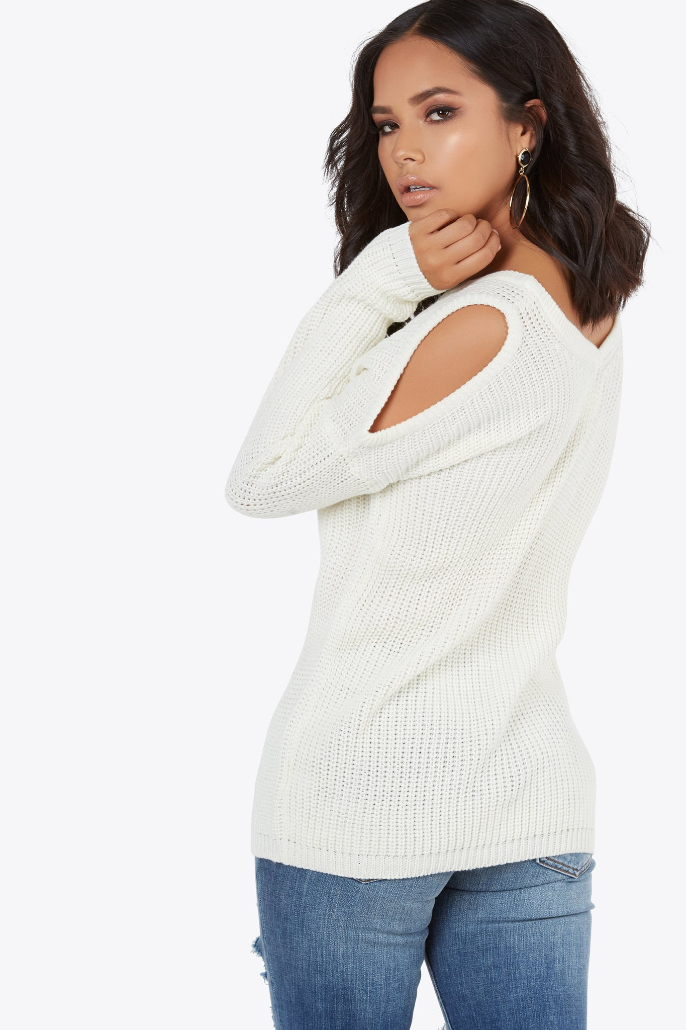 Free Shoulder Knit Top