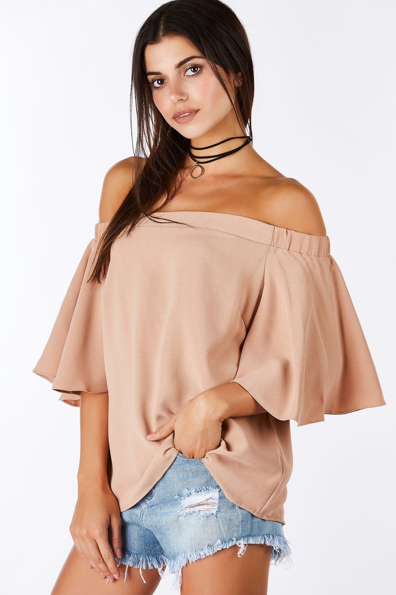 A great top to pair with skinny pants for a chic evening look. Lovely material to hang loose for comfort but maintaining a flattering fit. Fluttery short sleeves with hidden zip closure in back for a sleek finish.