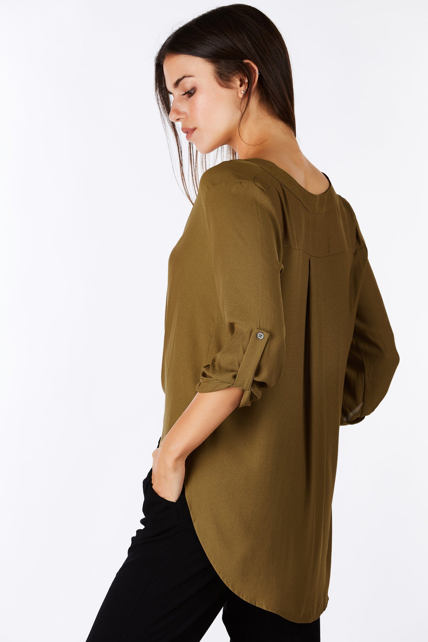 "An airy chiffon blouse is a must have for the Summer. This classic V-neck blouse features 3/4"" length sleeves with a relaxed fit. Perfect to layer a bralette underneath for a chic look while staying cool all day."