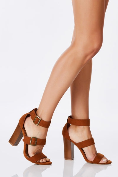 An adorable pair of sandals with a comfortable block heel. Simple three strap design with awesome buckle detailing for adjustable fit and style. A great pair to throw on with a babydoll dress for a flirty date look.