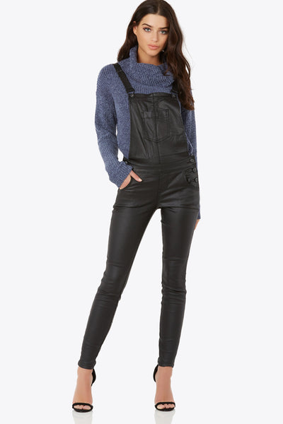 Not Over It Faux Leather Overalls