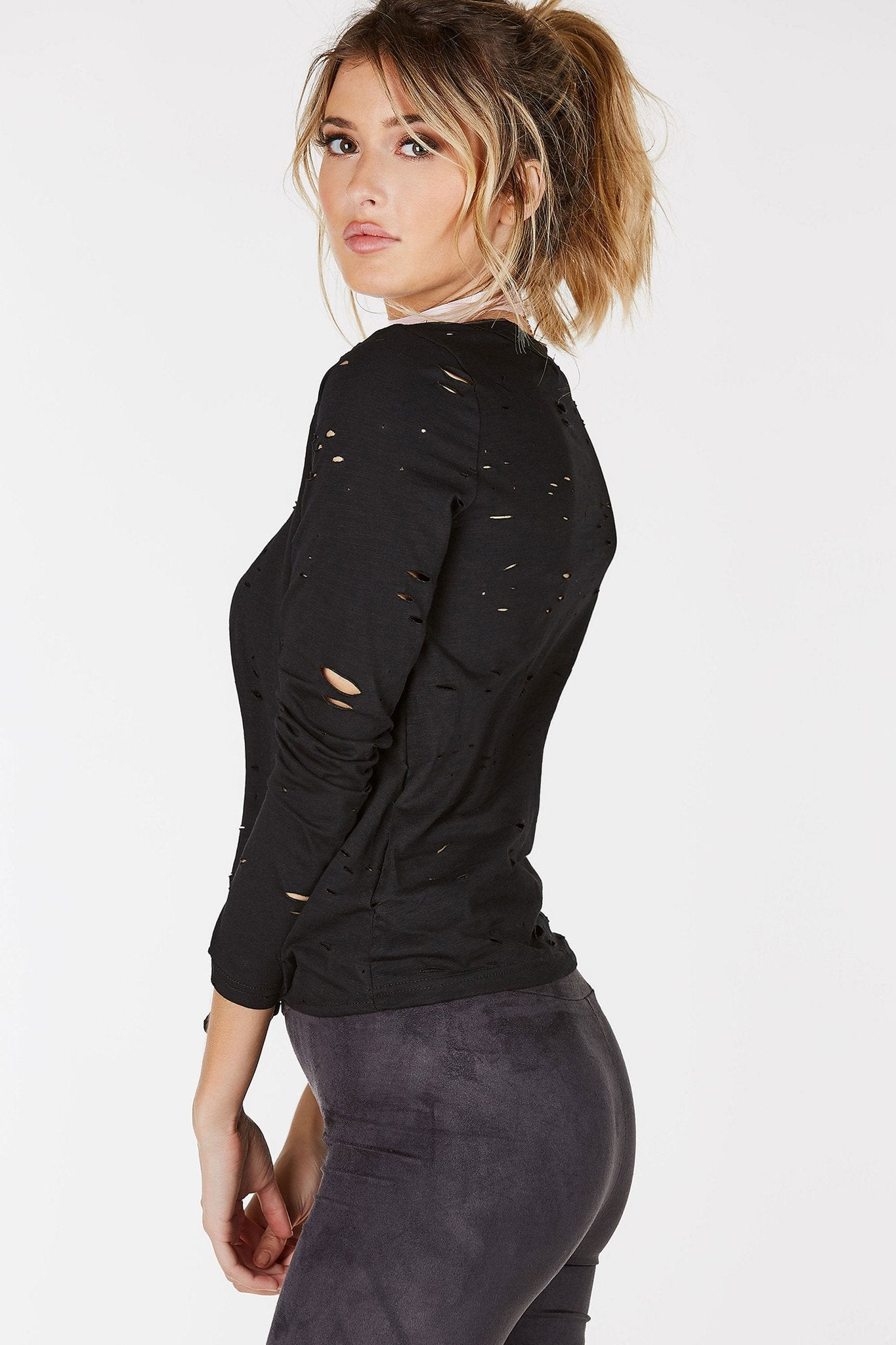 Unruly Distreed Long Sleeve Top