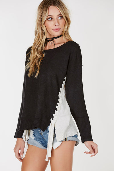 On Your Side Lace Up Sweater