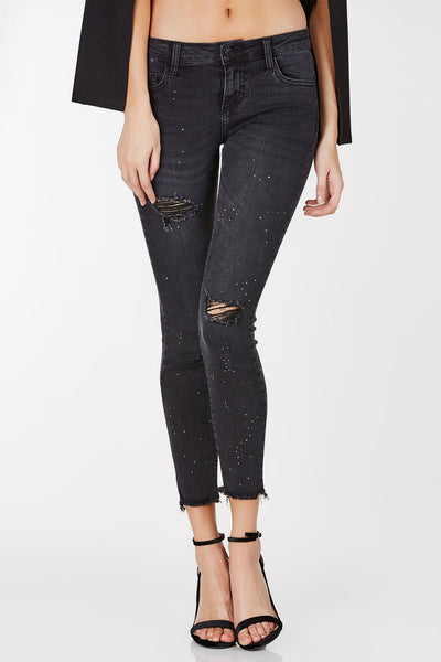Cosmo Speckled Frayed Skinnies