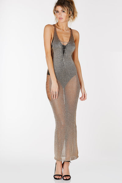 Scooped neckline sleeveless dress with metallic finish and distressing throughout.