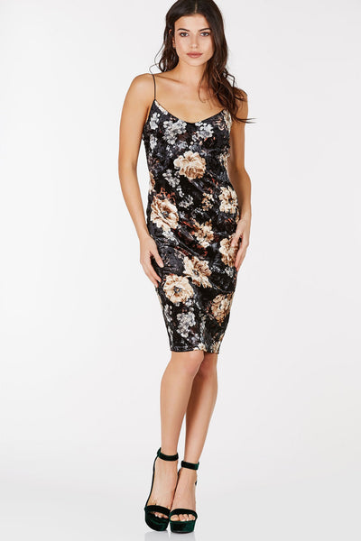 Velvet midi dress with floral design throughout.  Spaghetti straps and sweetheart neckline for a flirty look.