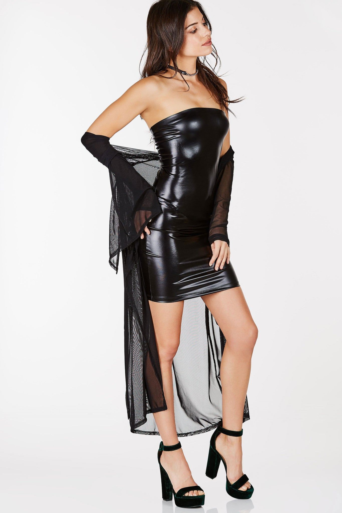 Shiny faux leather tube dress.  Perfect for a night at the club.