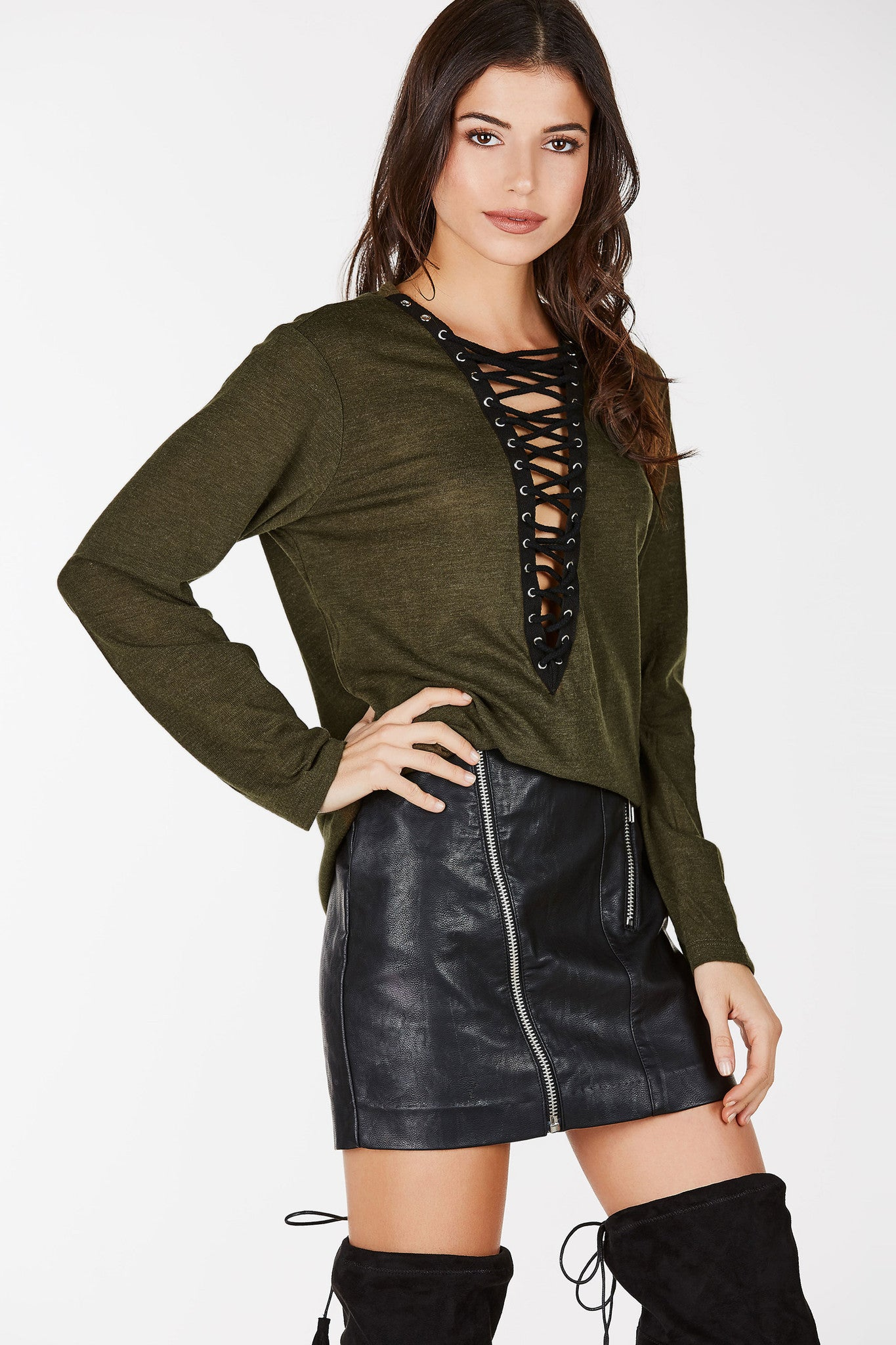 Longline, lace up top with plunging neckline.  Perfect for a casual look.