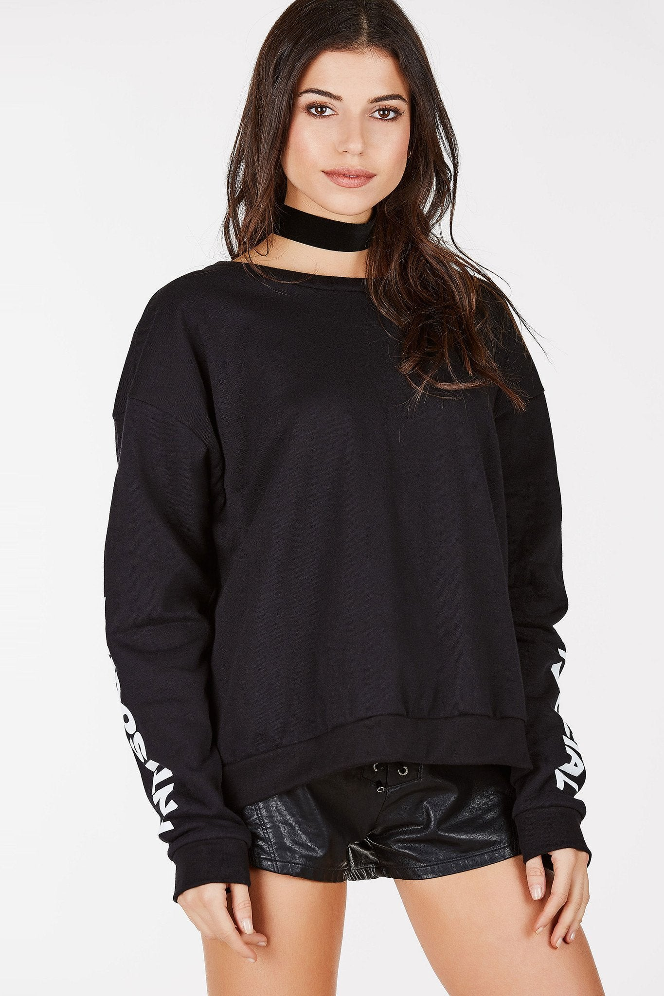 Crewneck sweater with ANTISOCIAL written down the sleeves. Cozy up in this sweater all winter long!