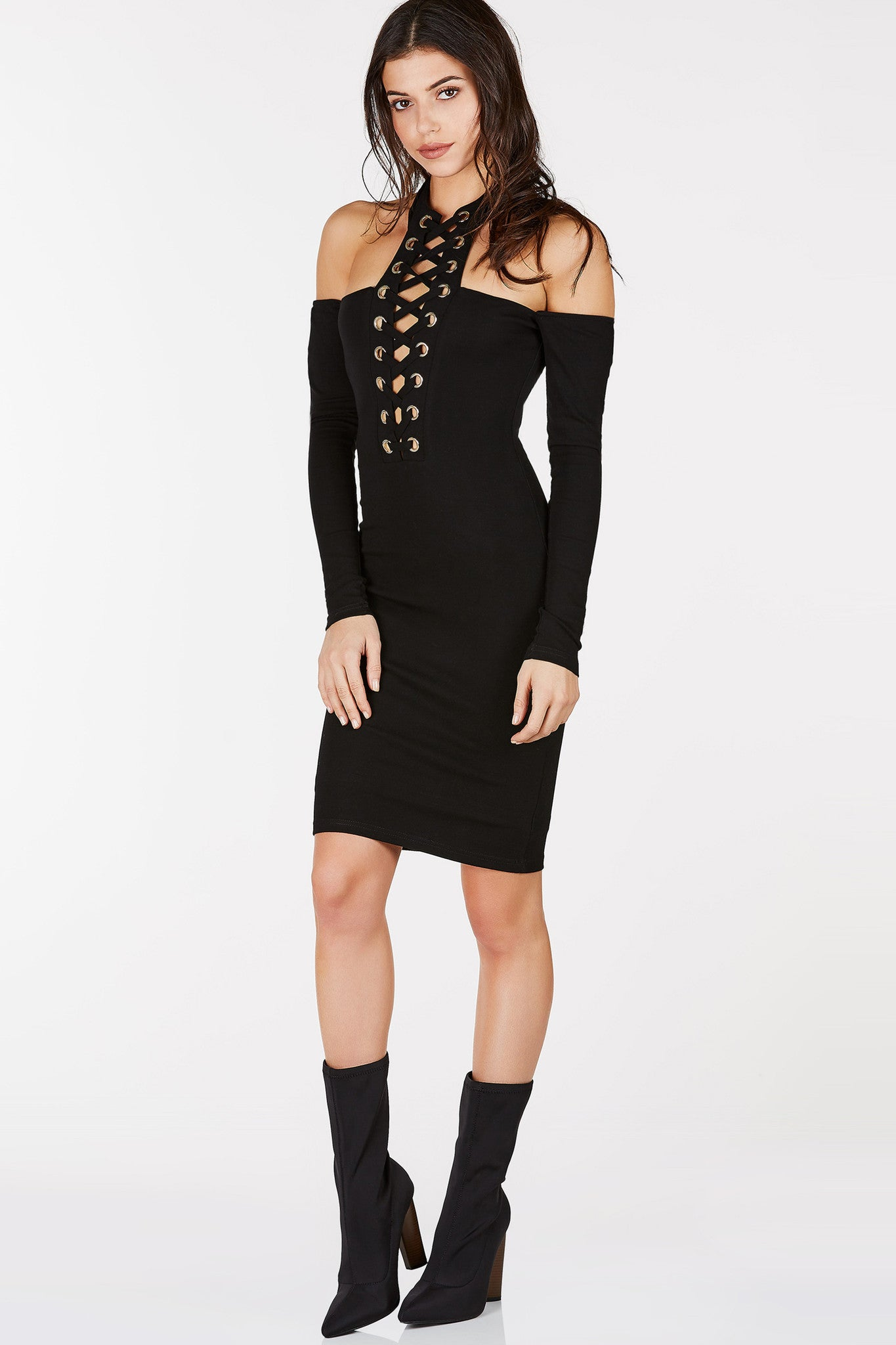 Black dress gold lace - Choker Neckline Long Sleeve Midi Dress Gold Eyelet Detailing With Lace Up Design In Front
