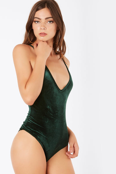 Swing Around Velour Bodysuit