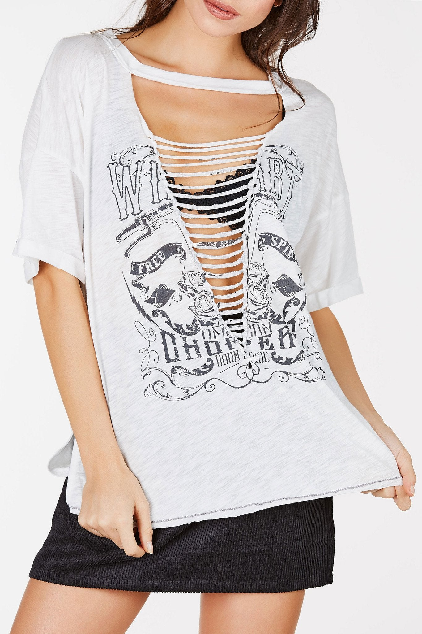 Oversized short sleeve tee with graphic in front. Wide neck with plunging cut out with twisted strap detailing.
