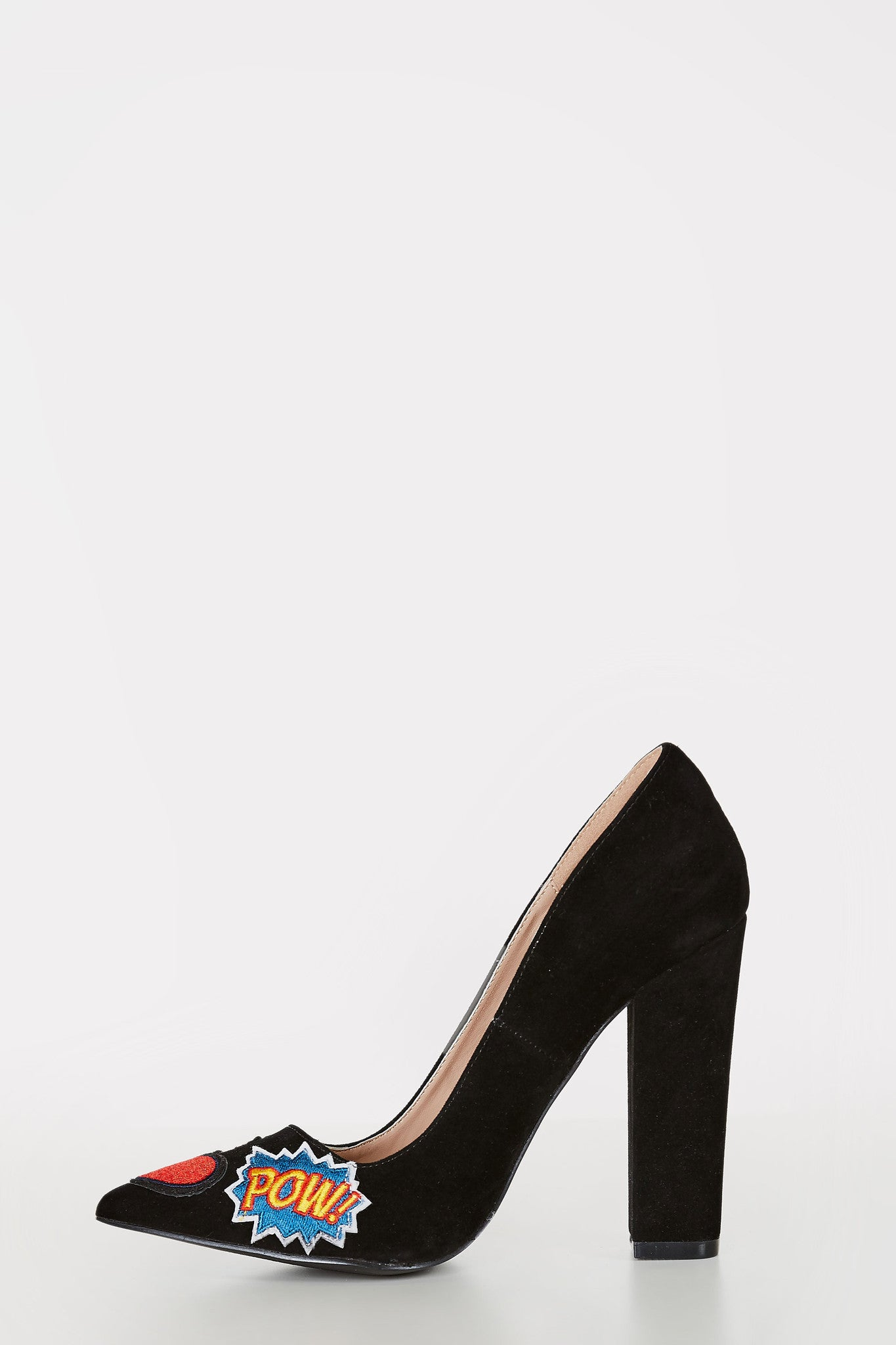 Closed toe pumps with velvet finish. Patched throughout with block heels.