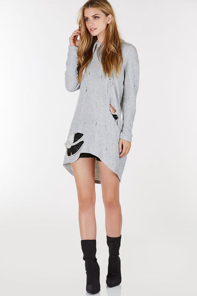 Long sleeve pullover sweater dress with attached hood. Relaxed fit with distressing throughout.