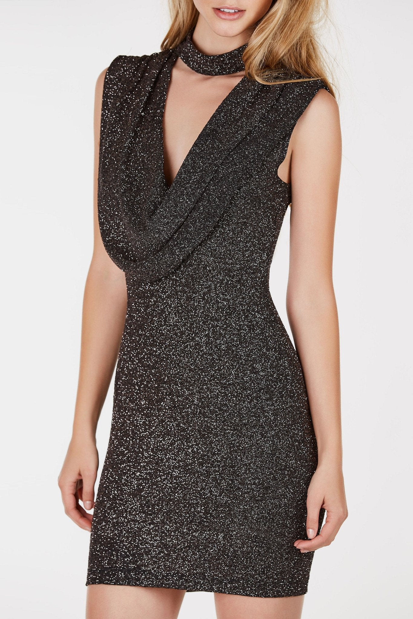 Choker neck dress with deep cut out with draped finish. Fine glitter finish throughout with straight hem.