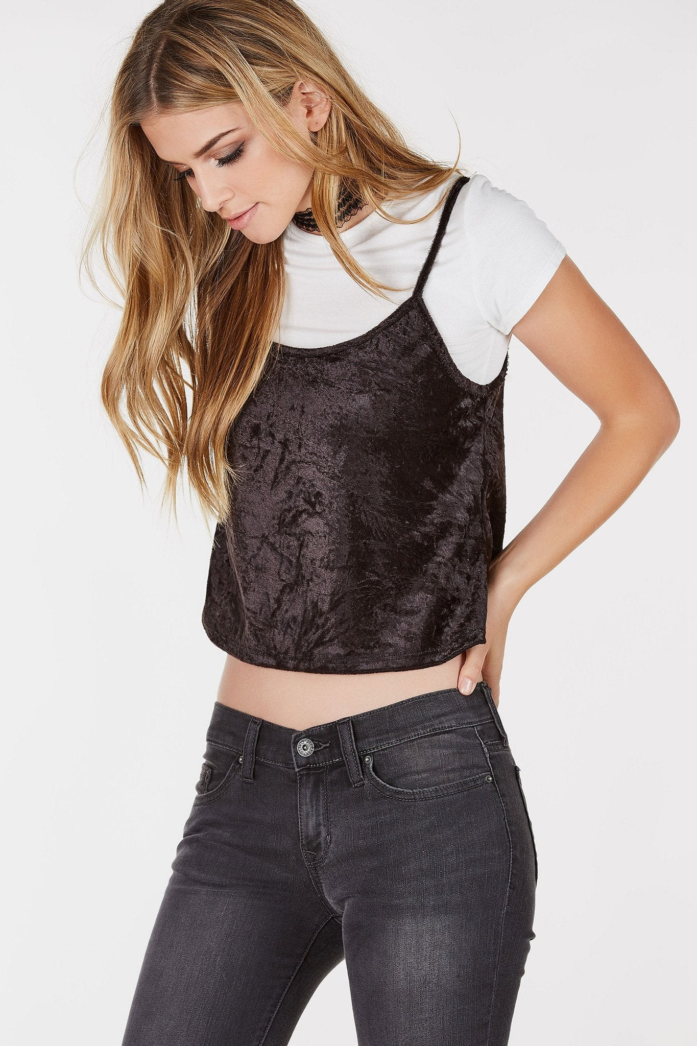 Round neck short sleeve t-shirt with velvet cropped cami layered on top. Relaxed fit with straight hem all around.