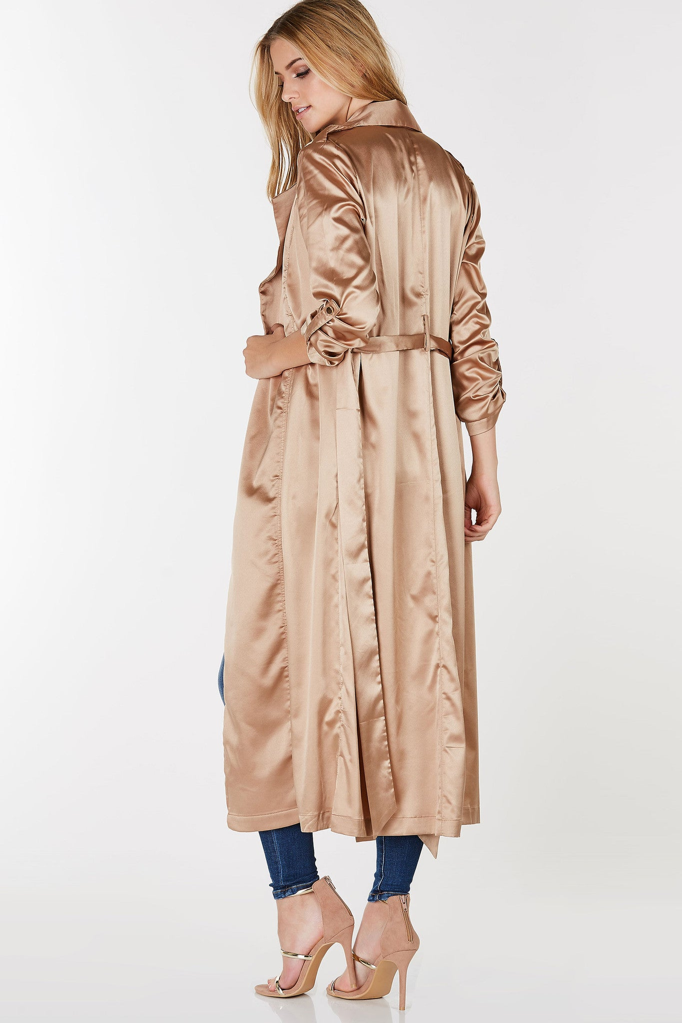 Longline duster coat with satin finish. lapels with open front and waist tie for closure.
