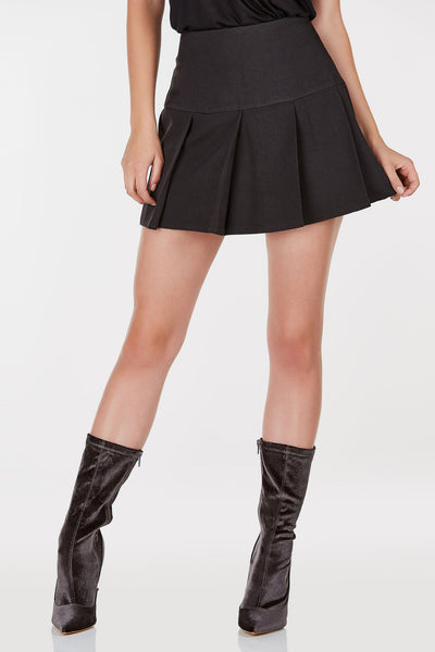Mid-rise mini skirt with pleated detailing throughout. Hidden zip closure with A-line hem.