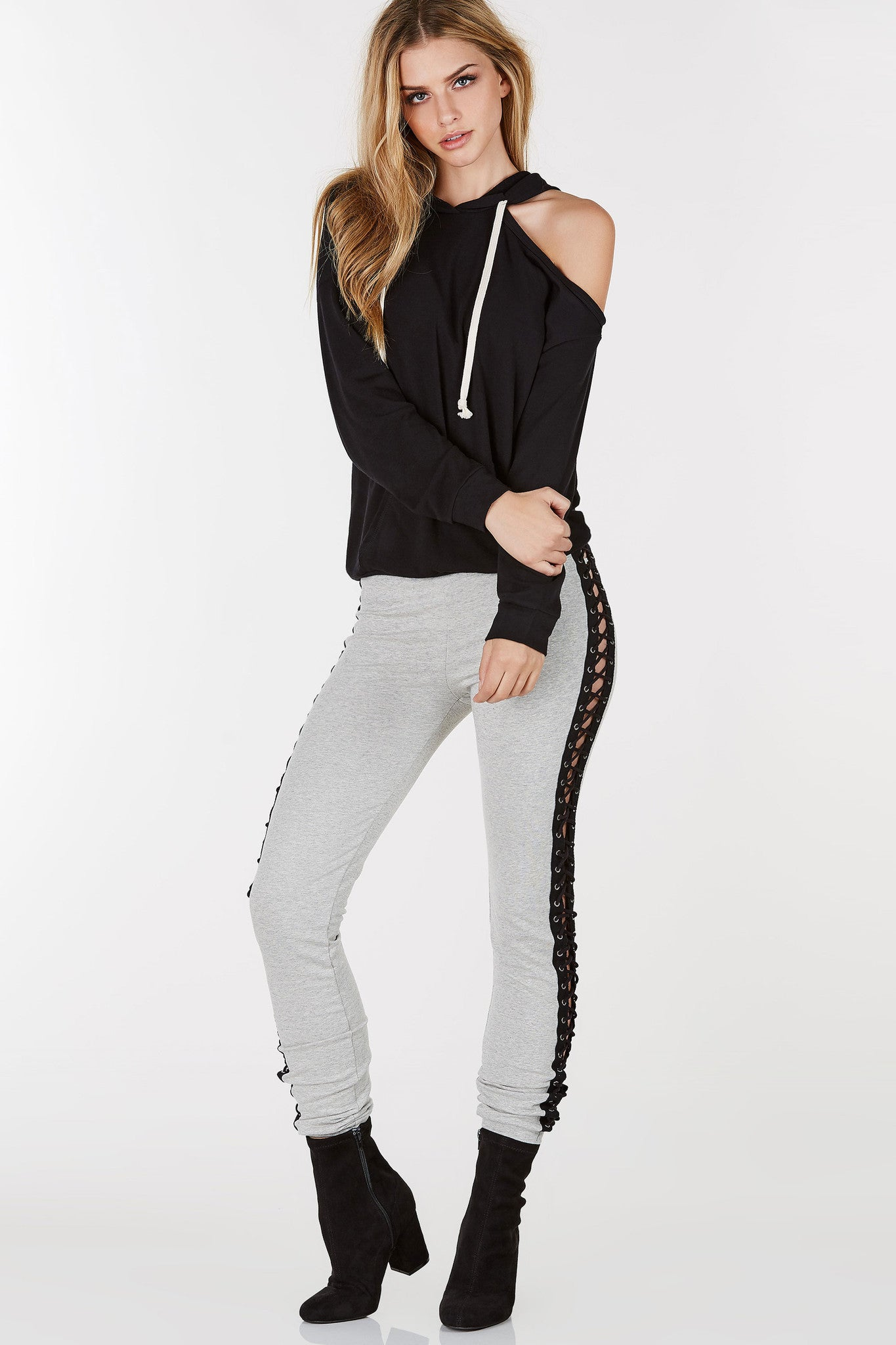 Lightweight hoodie with one cold shoulder. Pair with jeans for a casual look.