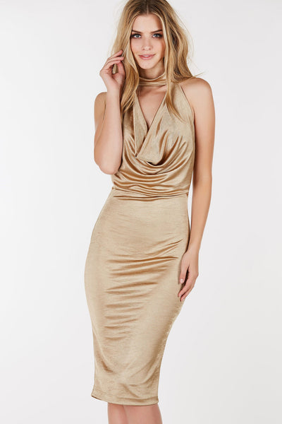 Chiker neck midi dress with draped design in front. Sleeveless with straight hem all around. 40 (measured from size S)