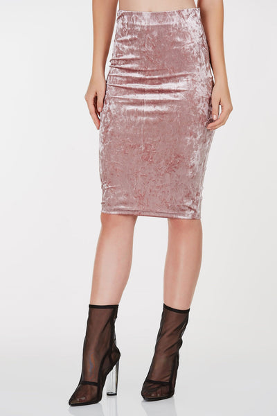 High rise midi skirt with velvet finish. Straight hem all around. Comes in a set with matching top sold separately.