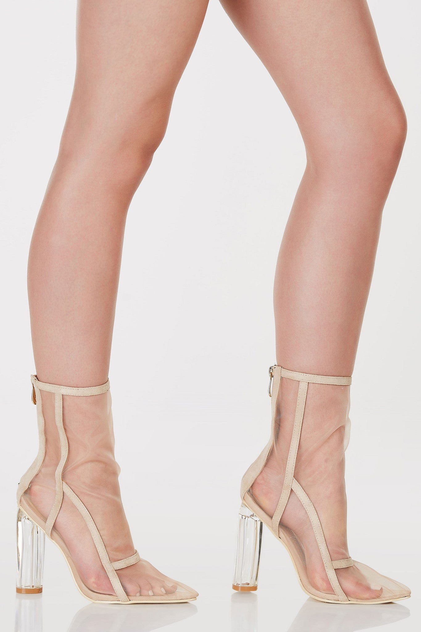 Above the ankle rise booties with mesh finish. Zip back closure with clear block heels.