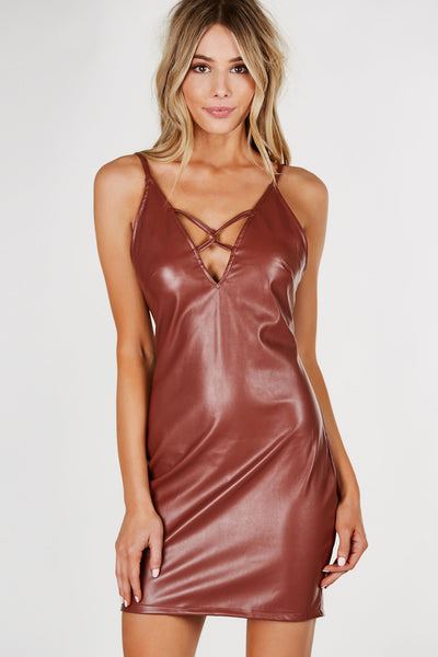 A Lil' Naughty Faux Leather Dress