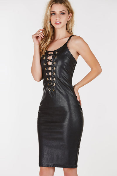 Spaghetti strap midi dress with faux leather finish. Plunging cut out with eyelet detailing and lace up design.
