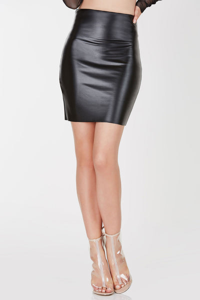 High waisted skirt with faux leather finish and straight hem all around. Comes in a set with matching top sold separately.