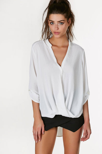Lush Draped Button Down Blouse