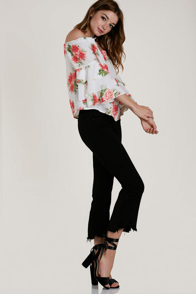 Go With The Floral Off Shoulder Top