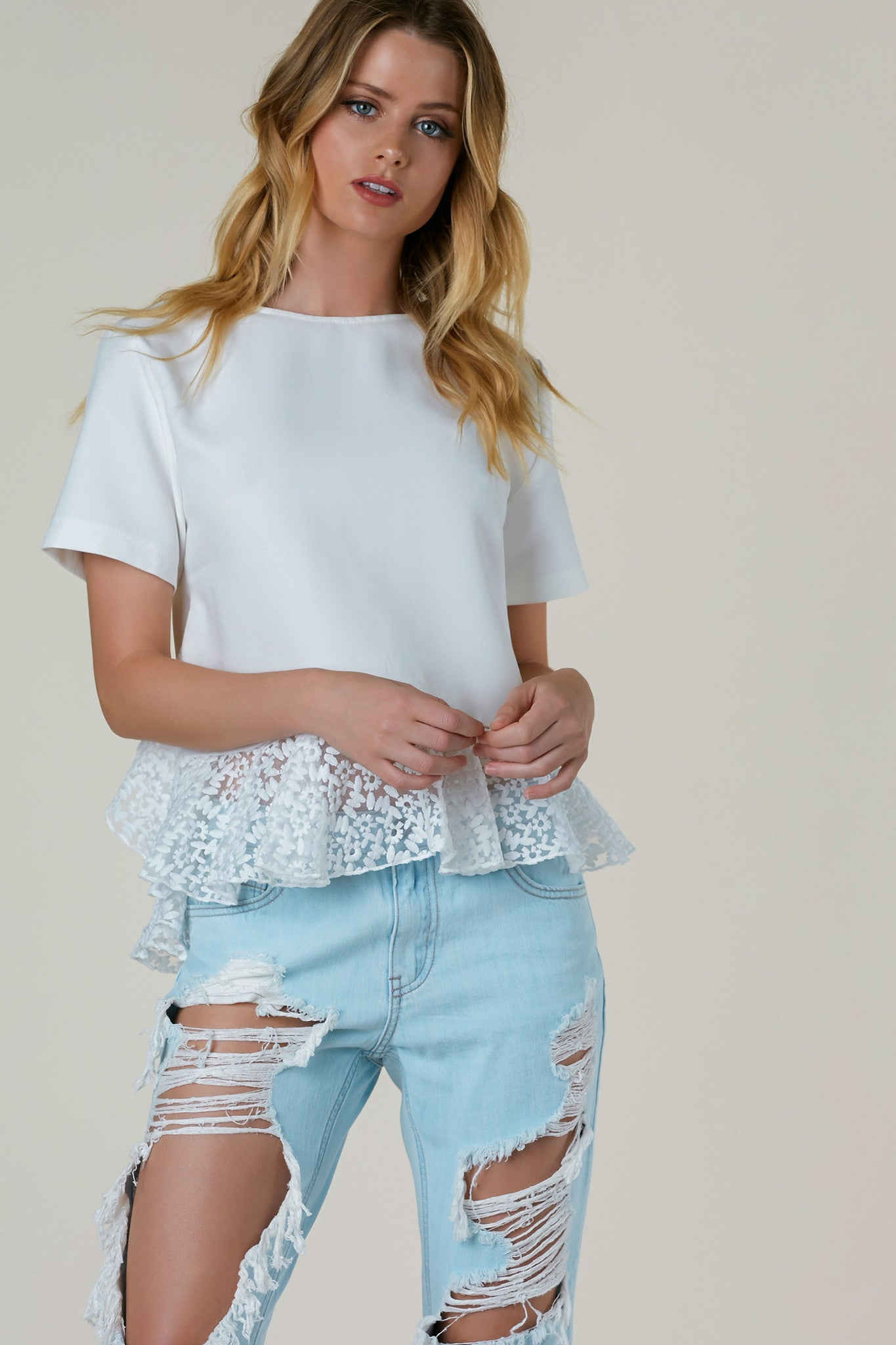 Just A Trim Short Sleeve Top