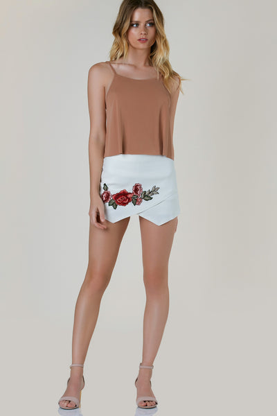Oui Floral Patched Envelope Skort