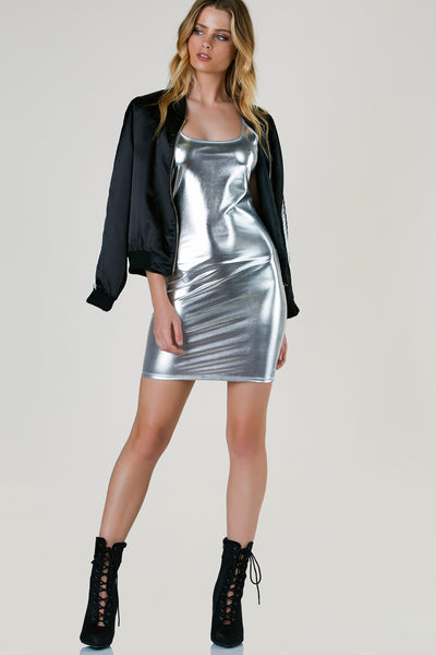 Outshined Metallic Mini Dress