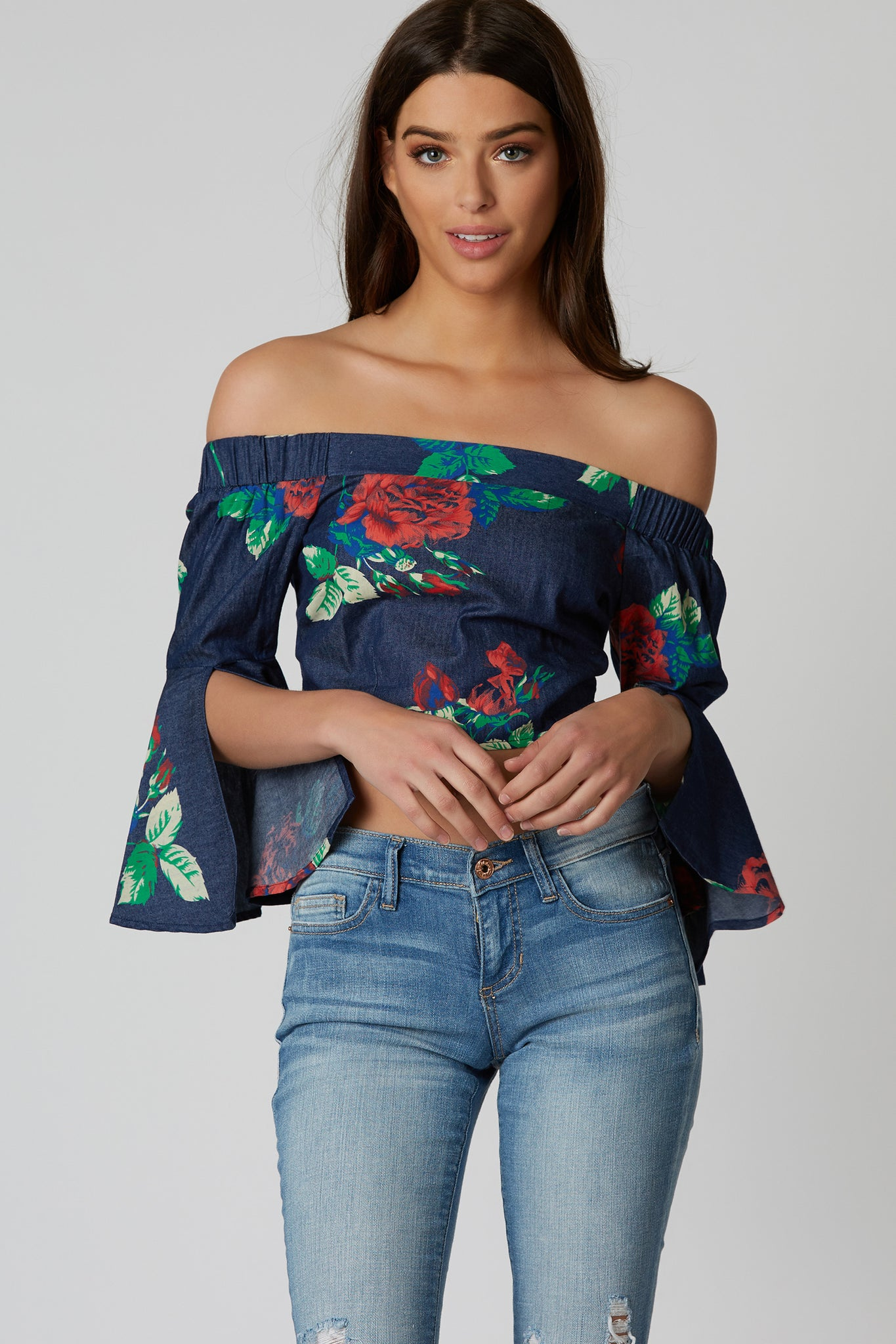 Take a Bow Off Shoulder Crop Top